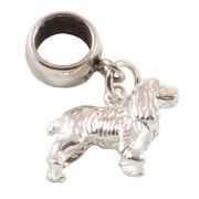 Large Cocker Spaniel Dog 3D Sterling Silver Dangle Charm / Carrier Bead